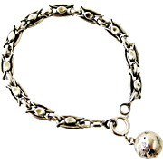 Antique French 800-900 silver bracelet with ball fob