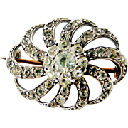 Antique Continental sterling silver paste brooch