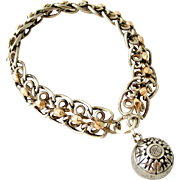 Chunky antique French 800-900 silver bracelet with rose gold vermeil and ball fob