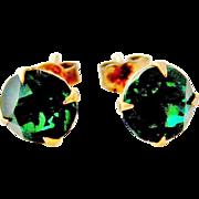 Art deco 9k gold emerald paste stud earrings