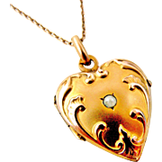 French art nouveau heart locket and chain by Oria