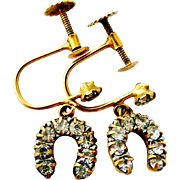 English 9k gold vintage paste set horseshoe earrings