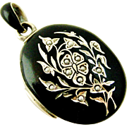Antique Austro Hungarian black enamel locket with seed pearls