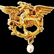 Antique French art nouveau Griffin brooch by FIX