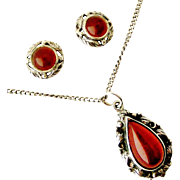 English sterling silver carnelian arts and crafts demi parure pendant and earrings