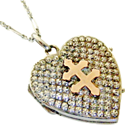 French antique 800-900 silver and rose gold cross of Lorraine heart locket and chain