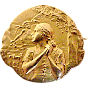 French art nouveau Joan of Arc brooch by FIX