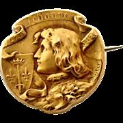 French art nouveau 18k gold fill Joan of Arc brooch