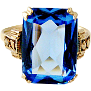 Thomas L Mott art deco silver gilt blue paste cocktail ring