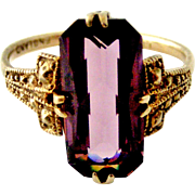Thomas L Mott art deco silver gilt amethyst paste cocktail ring