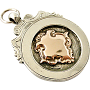 Heavy sterling silver and rose gold watch fob medal