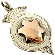 Sterling silver watch fob medal with rose gold cartouche