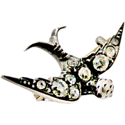 Antique French paste and 900 silver little swallow brooch