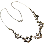 Edwardian marcasite necklace stamped Platinin