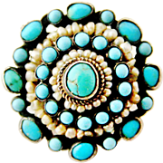 Austro Hungarian natural turquoise and seed pearl brooch.