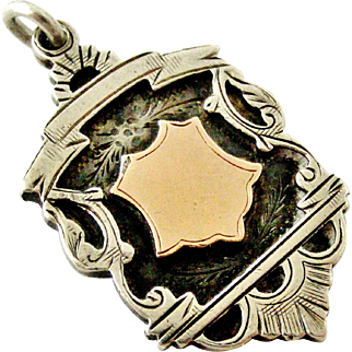 Edwardian English sterling silver and rose gold watch fob medal