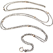 French 800-900 silver 50 inch lorgnette chain