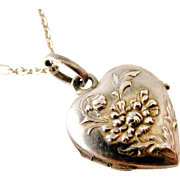French art nouveau silver chrysanthemum heart locket and chain