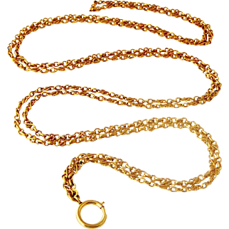 French antique gilt metal fancy lorgnette chain 58 inches