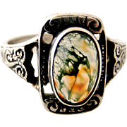 Arts and Crafts to art deco sterling silver ring moss agate