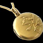 French art nouveau gold filled mistletoe locket by Oria