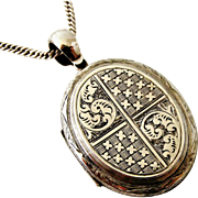 English Victorian sterling silver locket and chain 1882