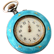Beautiful Swiss antique turquoise guilloche enamel fob watch circa 1900