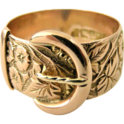 Spectacular wide rose 9k gold buckle wedding band ring carved with orange blossom and ivy leaves, size 8