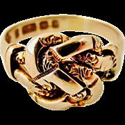 Antique Edwardian pale rose 9k gold lovers knot ring