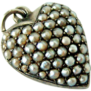 Georgian pave set natural split pearl heart mourning locket sterling silver