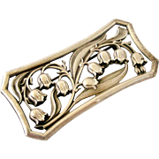 Fabulous European Bohemiam 900 silver large lily of the valley brooch