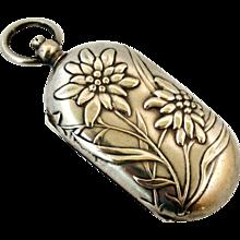 French antique art nouveau silver plated porte Louis coin case