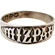 Antique Victorian sterling silver Mizpah ring Chester 1881