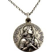 French art nouveau 800-900 silver Joan of Arc pendant and chain, signed Tschudin