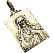 Antique French sacred heart of Jesus and Mary mother of Christ silver pendant signed Laserre