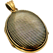 French yellow gold vermeil and black enamel locket