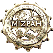 Victorian silver and brass MIZPAH brooch with single rose.