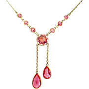 Art deco pink paste lavaliere negligee necklace