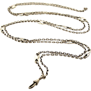 Beautiful French art nouveau lorgnette guard chain in 800-900 silver 58 inches long