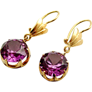 Large pair vintage synthetic Alexandrite and 14k gold earrings