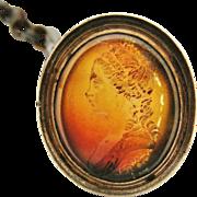 Wonderful Georgian carved lady carnelian intaglio seal fob on dark steel watch chain circa 1790