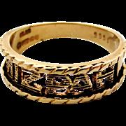 English 9k gold vintage modernist Mizpah ring size 5.5