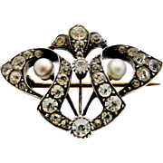 French art nouveau paste and faux pearl brooch in 900 silver.