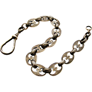 Chunky antique 800 silver niello 14 inch watch chain, anchor style, 53 grams