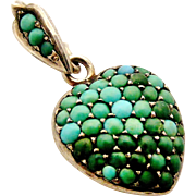Antique pave set turquoise puffy heart locket in tested sterling silver