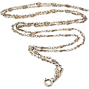 French 800-900 silver 55 inch lorgnette or muff chain
