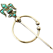Antique Swiss sterling silver and pave natural turquoise fleur de lis fibula brooch
