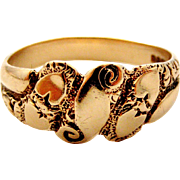English 9k gold Victorian style heart embossed keeper ring