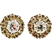 English art deco 9k gold and paste daisy cluster stud earrings
