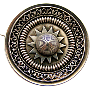 Victorian sterling silver locket back target brooch Etruscan style